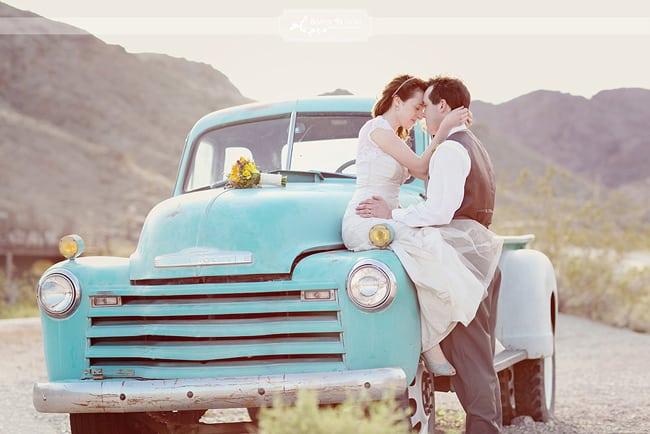desert engagement shoot with vintage truck