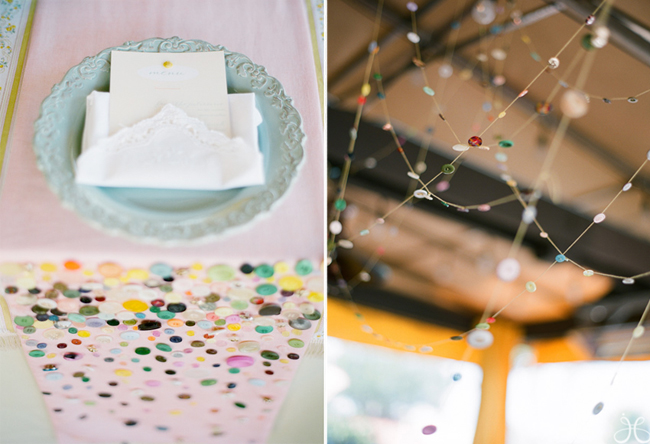 Sew buttons onto a table runner (left photo); String of buttons strung from the ceiling