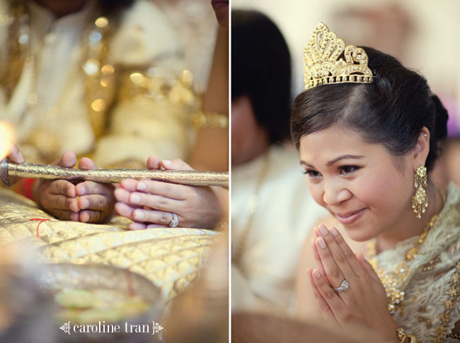 traditional Cambodian bride with gold tiara