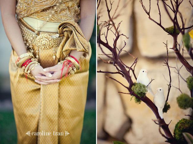intricate Cambodian bridal wedding dress in gold