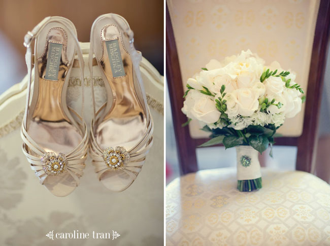 bridal shoes and white rose bouquet