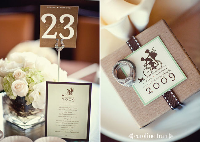 table number and ring on favor box