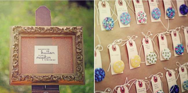 Button themed escort cards at wedding reception