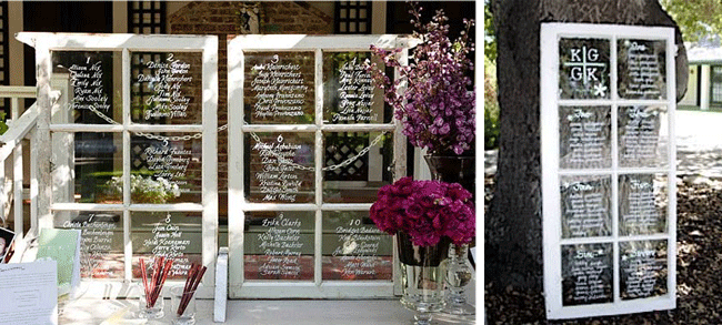 Wedding seating chart - old window frame with white writing