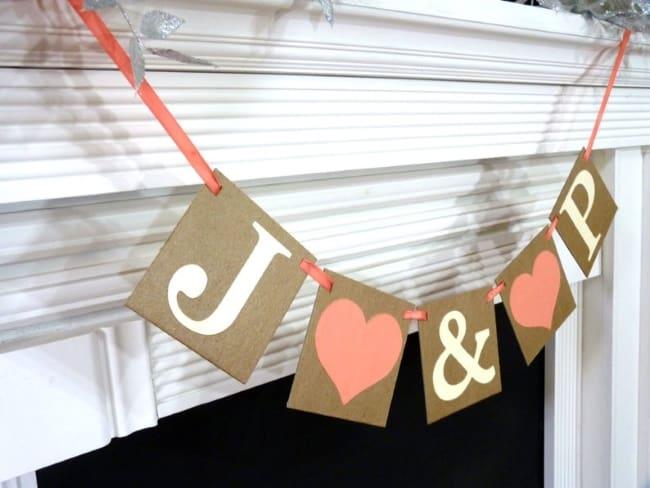 Custom wedding Inititals bunting Banner