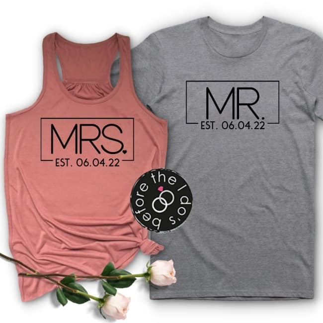 Mr. and Mrs t-shirts for honeymooners