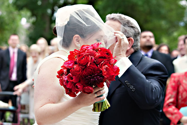 bride's father kissing bride