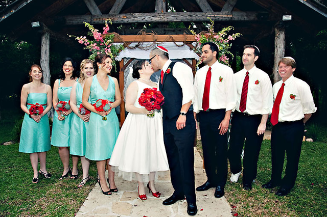 turquoise and red wedding party