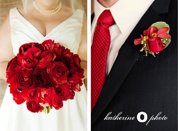 bride's red bouquet; groom's red tie and red boutonniere