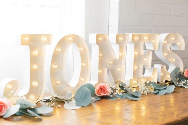 Wedding Marquee Lights to add monogrammed decor