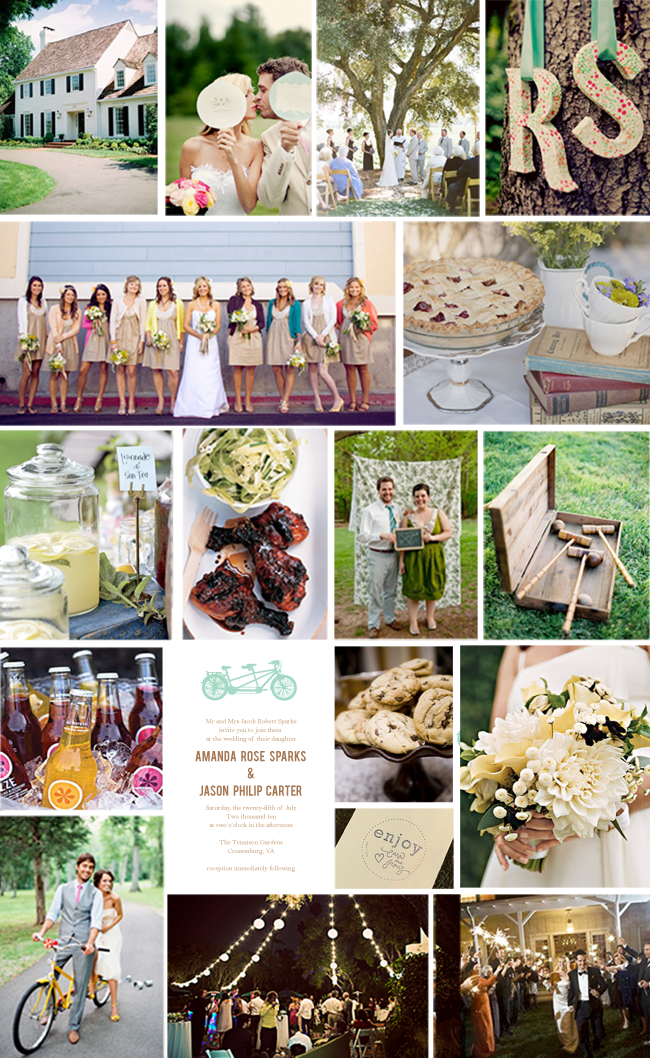 Backyard wedding on a budget - photo collage