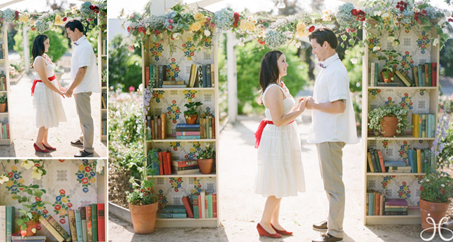 ceremony arch made with bookcases