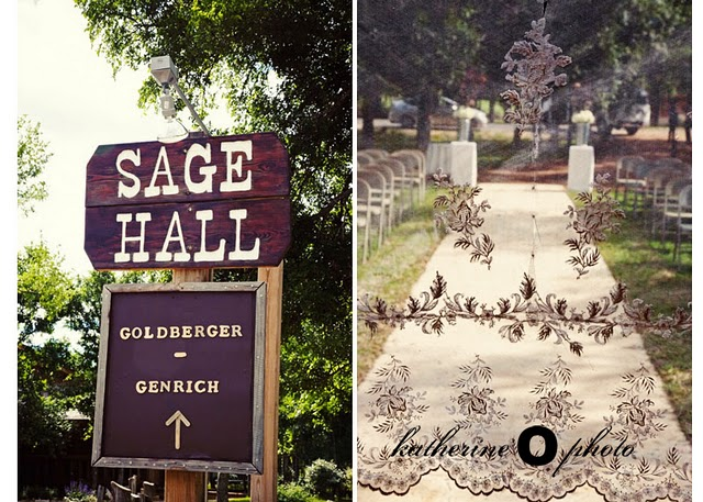 direction sign to wedding site; pathway to seating area