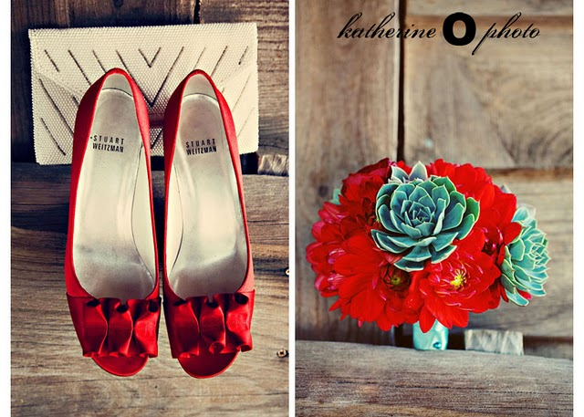 bride's red heels with accordian style bows; red flower and turquoise succulent