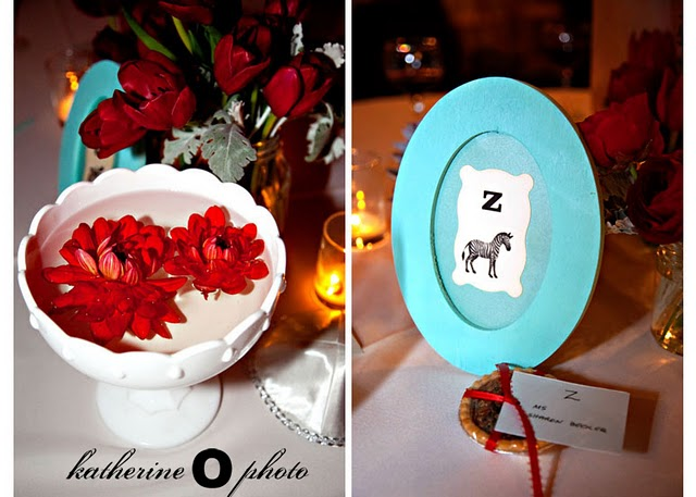vintage turquoise frames with alphabet cards for reception tables