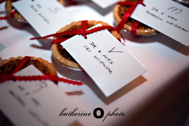 little pecan pie favors tied with red ribbon