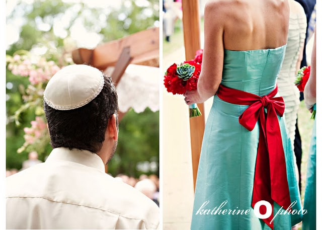 man wearing Jewish Kippah; bridesmaid in turquoise dress with red sash