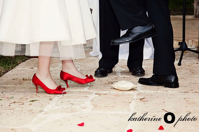 bride's bright red shoes