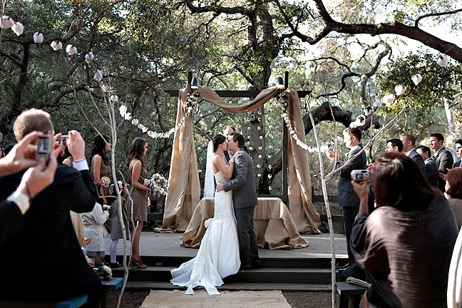 rustic backdrop with strings of cotton