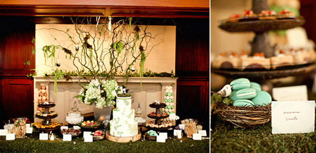 Mossy Tree wedding dessert table with macaroons, cake, and other candies