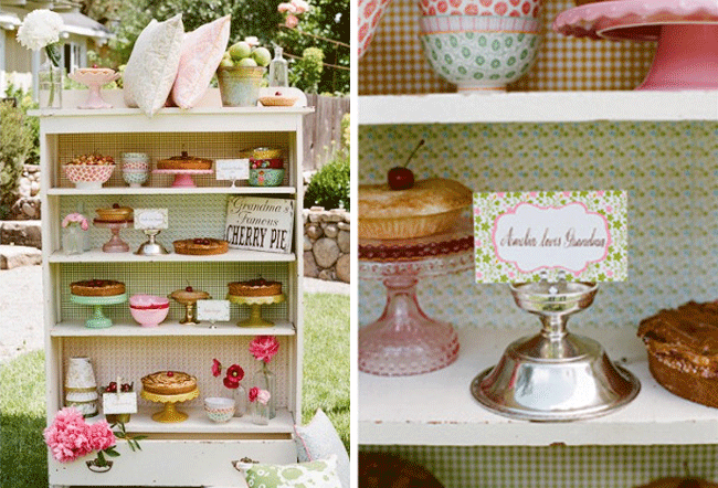 Bookshelf wedding dessert Table with all sorts of pies, candy, and vintage decor ideas