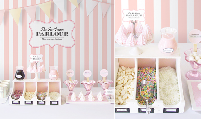 Ice Cream Bar Wedding Dessert Table with build your own topping station, bunting banner, and custom sign