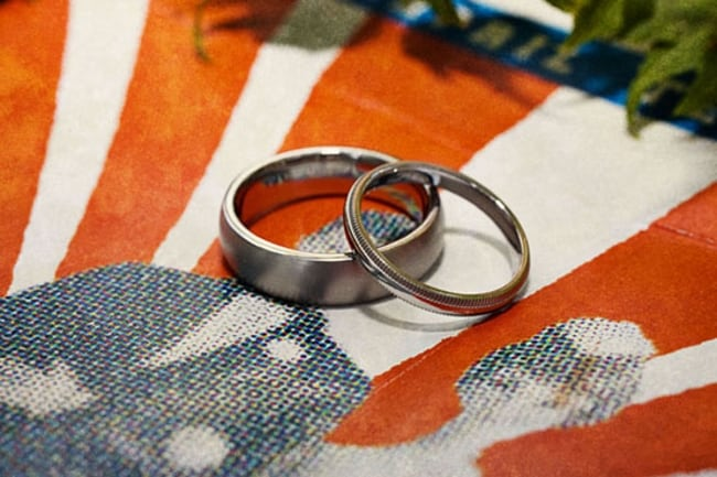rings on vintage flag