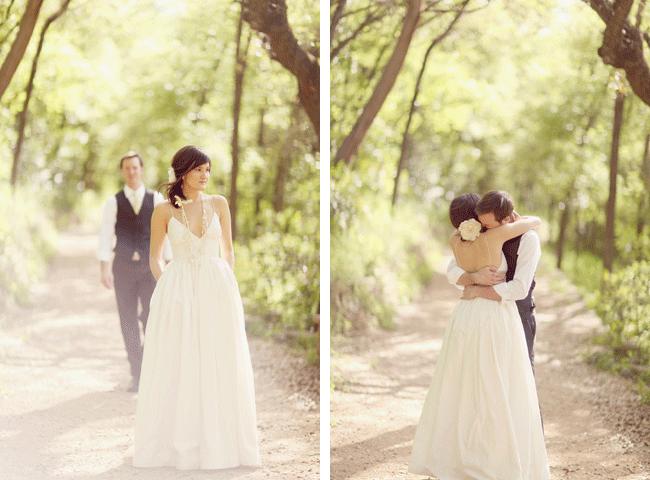 First look for bride and groom's wedding at Umluaf Sculpture Garden