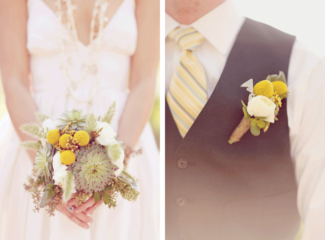 bouquet and boutonniere each with billy balls