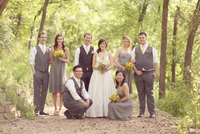 bridal party photo on nature path for wedding at Umluaf Sculpture Garden