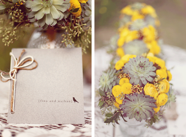 wedding invite for Fina and Nathan along with photo of pale green succulents and the bright yellow billy balls