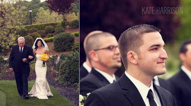 Bride and father walk on grass aisle at Whitney Oaks Golf Club