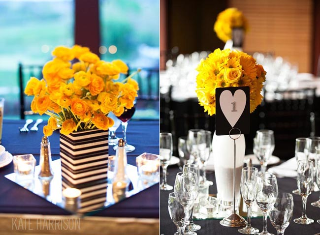 yellow flower centerpiece in black and white square vase