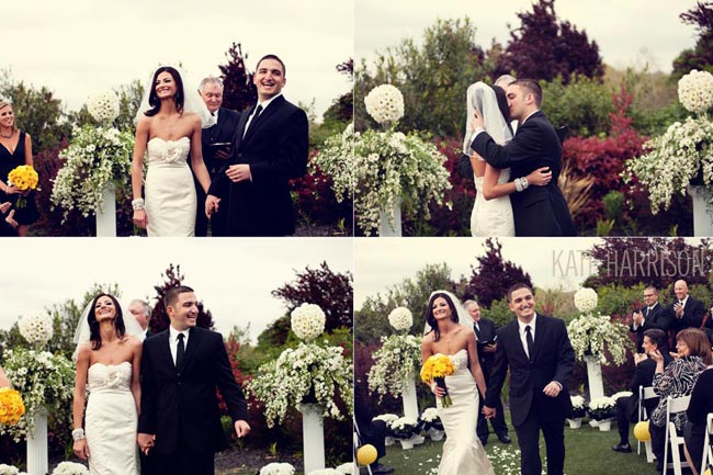 Bride and groom kiss and recessional at Whitney Oaks Golf Club wedding ceremony