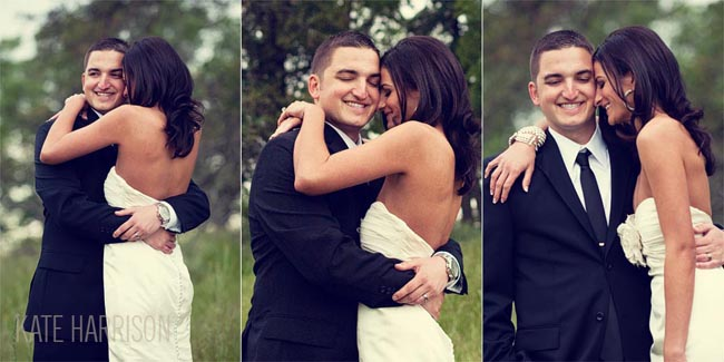 3 photos of bride and groom hugging