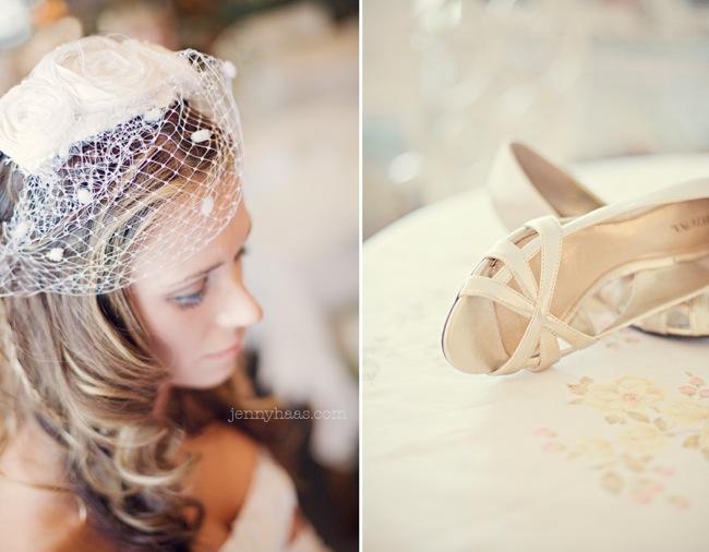 bride with birdcage veil; bride's open toe shoes