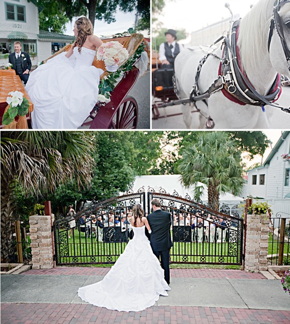 bride riding in horse-drawn carriage; white horse pulling carriage; waiting at the gates of the wedding ceremony