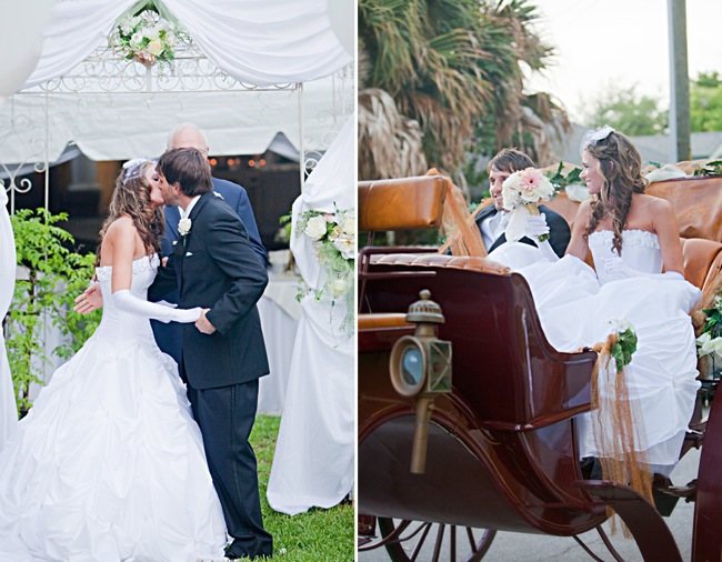 groom kissing new bride; bride and groom in carriage