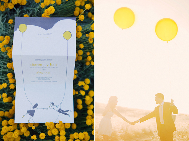 yellow balloons invitation photo next to matching photo of couple holding yellow balloons