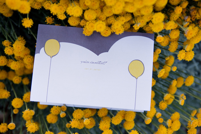 two yellow balloons invitation card