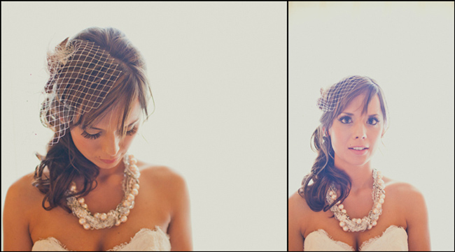 bride with birdcage veil and thick wedding choker