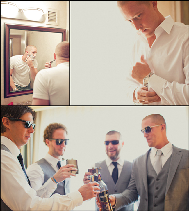 Groom getting ready and drinking scotch with groomsmen