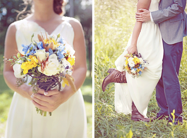 bride's bouquet; bride and groom sharing a moment