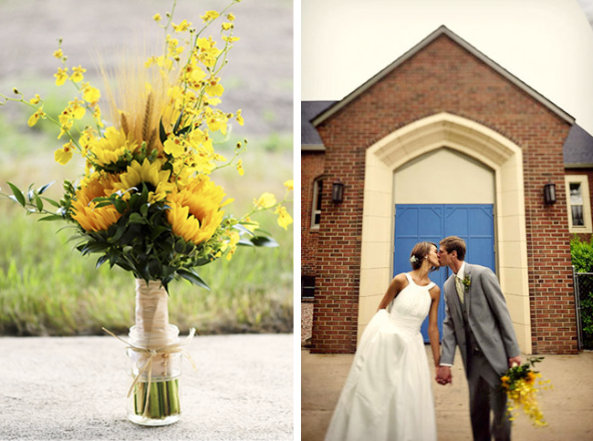 farm wedding with sunflowers bouquet in mason jar