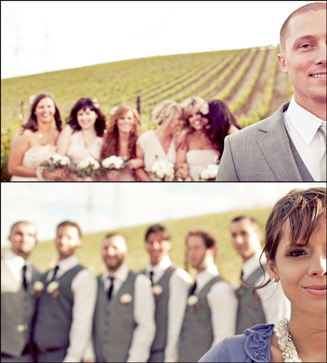 Groom/Bride in focus with blurry bridesmaids/groomsmen at Murrieta's Well vineyard