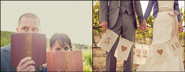 bride and groom holding old books in front of their faces