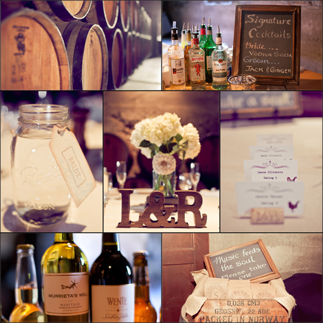 wine barrel cellar at Murrieta's Well with wedding decor and bar
