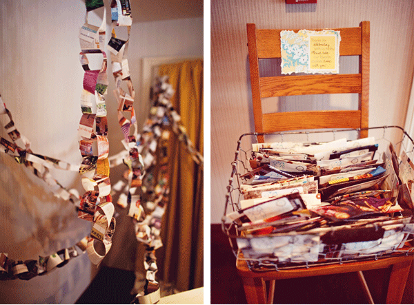 picture chain; note on chair with collection of pictures
