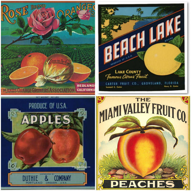 Beach lake groveland original florida orange crate label carter fruit co.