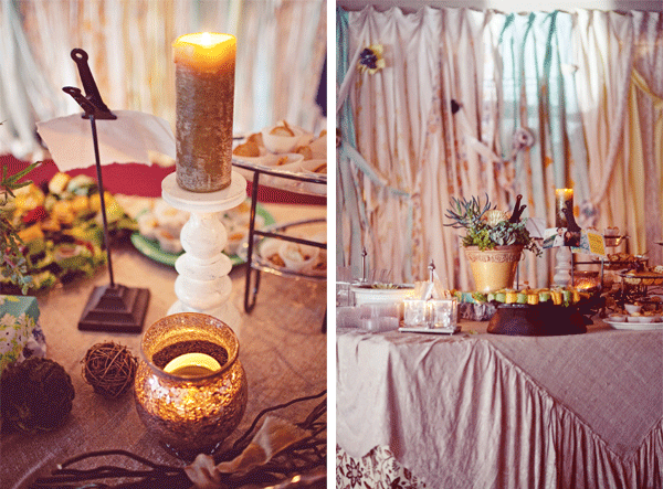 tables of food,, lanterns, candles, centrepieces